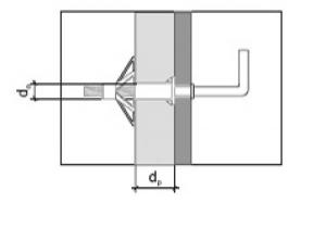 10 Stk. Hohlraumdübel aus Metall M4 x 32mm mit Winkelhaken