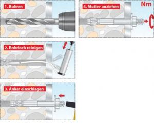 10 Stk. Bolzenanker TOX-S-FIX 7 Plus  M12 x 160mm
