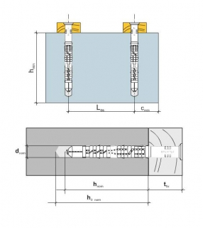 2 Stk. Rahmendübel mit Schraube KPS-FAST 12 x 260mm