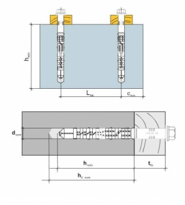 2 Stk. Rahmendübel m. Sechskantkopfschraube KPR-FAST 12 x 180mm