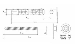 20 Stk. Rahmendübel m. Sechskantkopfschraube KPR-FAST 12 x 300mm