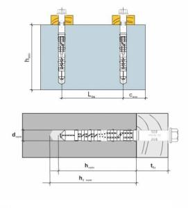 2 Stk. Rahmendübel m. Sechskantkopfschraube KPR-FAST 12 x 260mm