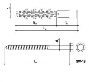 15 Stk. Rahmendübel m. Sechskantkopfschraube KPO 16 x 160mm