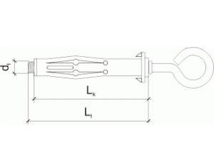 10 Stk. Hohlraumdübel aus Metall M4 x 32mm mit Ösenhaken