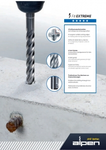 1 Stk. Hammerbohrer F8 SDS-PLUS 10 x 260/200mm 4-Schneiden