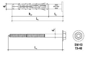 50 Stk. Rahmendübel m. Sechskantkopfschraube KPR-FAST 10 x 100mm