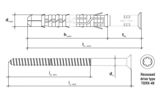 5 Stk. Rahmendübel mit Schraube KPS-FAST 10 x 200mm