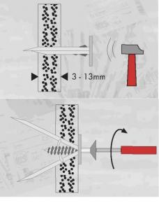 200 Stk. Gipskarton-Einschlagdübel mit Schraube