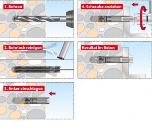 10 Stk. Maschinendübel TAC M6 x 40mm mit Schraube
