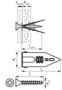 50 Stk. Gipskarton-Einschlagdübel mit Schraube