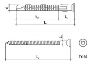 50 Stk. Rahmendübel mit Schraube KPS-FAST 8 x 100mm