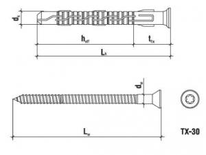 10 Stk. Rahmendübel mit Schraube KPS-FAST Edelstahl A4 8 x 120mm