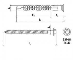 50 Stk. Rahmendübel m. Sechskantkopfschraube KPS-FAST K 8 x 120mm