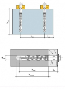 1 Stk. Rahmendübel m. Sechskantkopfschraube KPR-FAST 14 x 300mm