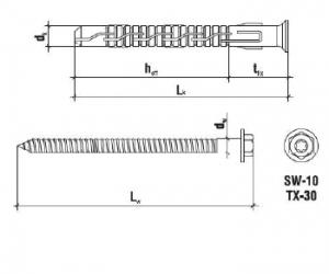 10 Stk. Rahmendübel mit Sechskantschraube KPS-FAST K Edelstahl A4 8 x 140mm
