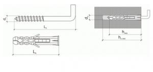50 Stk. Multizweck Qualitätsdübel 8 x 40mm mit Haken