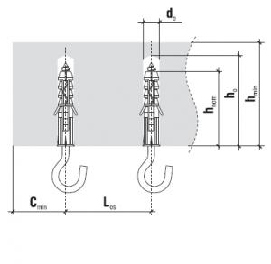 10 Stk. Multizweck Qualitätsdübel 6 x 30mm mit Rundhaken