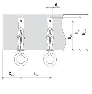5 Stk. Multizweck Qualitätsdübel 8 x 50mm mit Ösenhaken