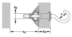 2 Stk. Metall-Hohlraumdübel M5 x 52mm mit Rundhaken