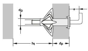 2 Stk. Metall-Hohlraumdübel M6 x 65mm mit Winkelhaken